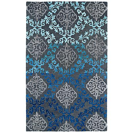 Kaleen Divine DIV04-100 Ice Blue Scroll Wool Area Rug