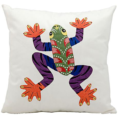 """Mina Victory Multi-Color Frog 17"""" Square Outdoor Pillow"""