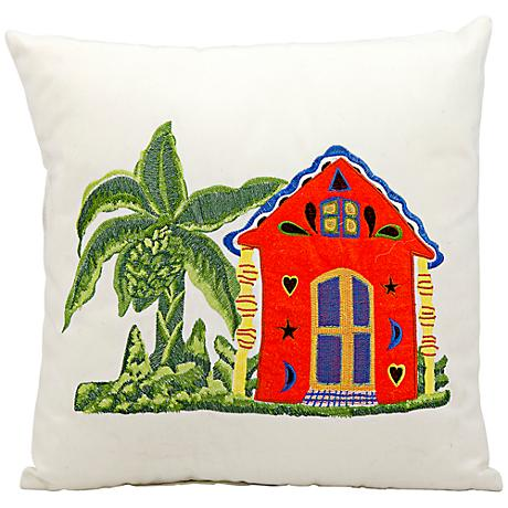 "Mina Victory Tropical Home 18"" Square Outdoor Pillow"
