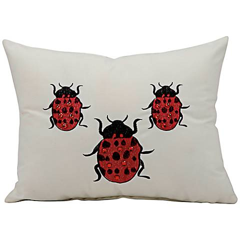 "Mina Victory Ladybug 14"" x 10"" Ivory Outdoor Pillow"
