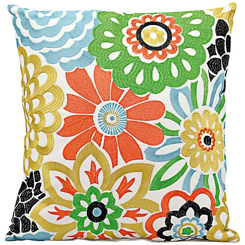 """Mina Victory Multi-Color 18"""" Square Floral Outdoor Pillow"""