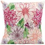"Mina Victory Pink and Orange 18"" Indoor-Outdoor Pillow"
