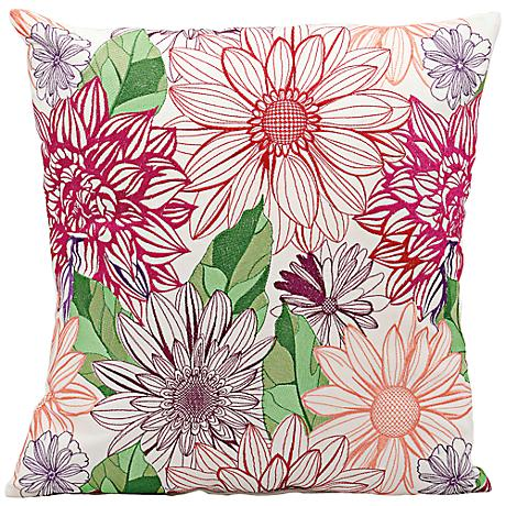"""Mina Victory Pink and Orange 18"""" Square Outdoor Pillow"""