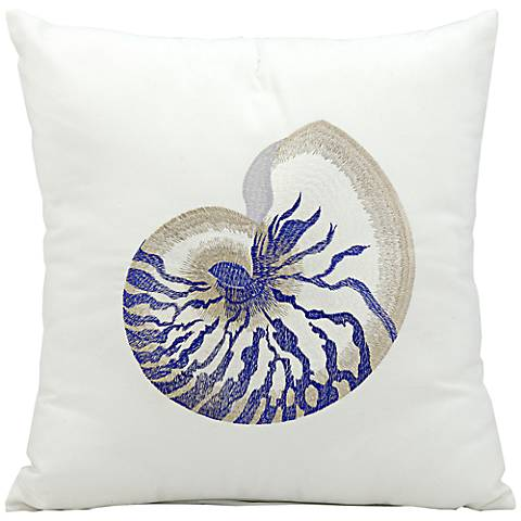 """Mina Victory Blue Seashell 18"""" Square Outdoor Pillow"""