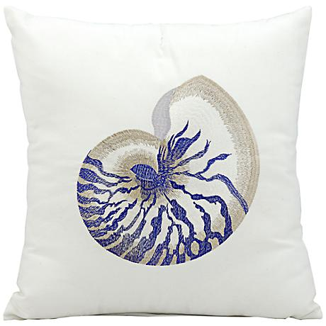 "Mina Victory Blue Seashell 18"" Square Outdoor Pillow"