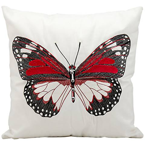 "Mina Victory Black Butterfly 18"" Indoor-Outdoor Pillow"