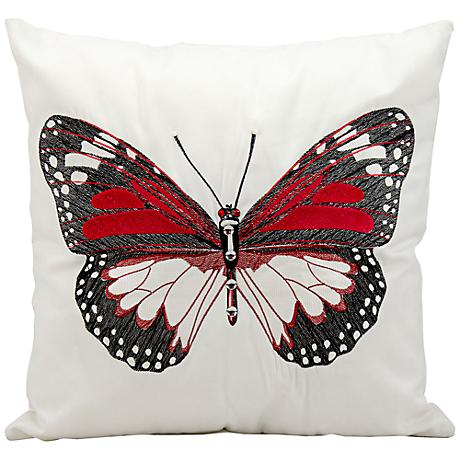 """Mina Victory Black Butterfly 18"""" Square Outdoor Pillow"""