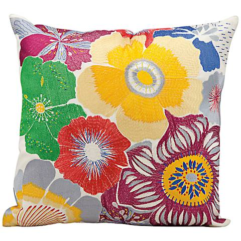 """Mina Victory Large Floral Print 18"""" Square Outdoor Pillow"""