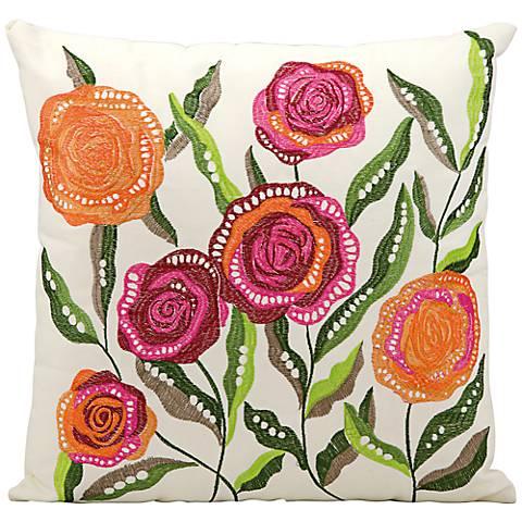 """Mina Victory Orange and Pink 18"""" Indoor-Outdoor Pillow"""