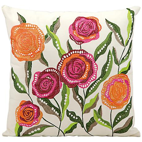 """Mina Victory Orange and Pink 18"""" Square Outdoor Pillow"""