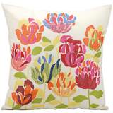 """Mina Victory Floral 18"""" Square Outdoor Decorative Pillow"""