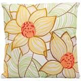 "Mina Victory Yellow-Green Flower 18"" Indoor-Outdoor Pillow"