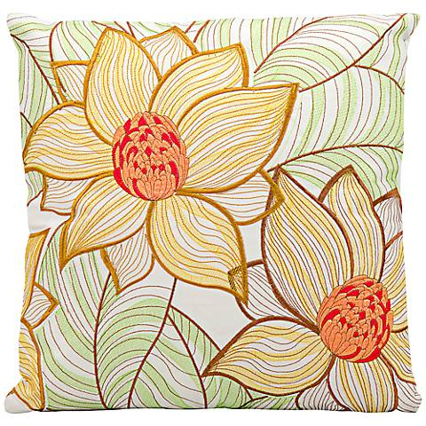 "Mina Victory Yellow-Green Flower 18"" Indoor-Outdoor Pillow"