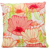 "Mina Victory Bright Pink 18"" Floral Indoor-Outdoor Pillow"
