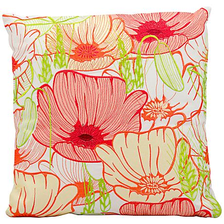 """Mina Victory Bright Pink 18"""" Square Floral Pillow"""