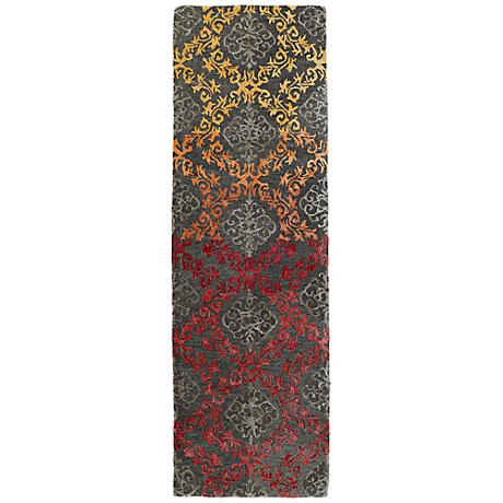 Kaleen Divine DIV04-98 Fire Red and Gray Wool Area Rug