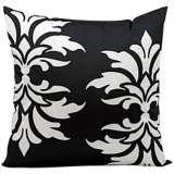 "Mina Victory Fleur-de-Lys 20"" Black Indoor-Outdoor Pillow"
