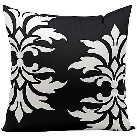 """Mina Victory Fleur-de-Lys 20"""" Black Indoor-Outdoor Pillow"""