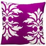 "Mina Victory Fleur-de-Lys 20"" Lilac Indoor-Outdoor Pillow"