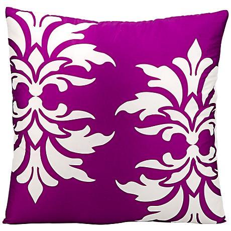 """Mina Victory Fleur-de-Lys 20"""" Square Lilac Outdoor Pillow"""