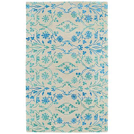 Kaleen Divine DIV05-100 Ice Blue Floral Wool Area Rug