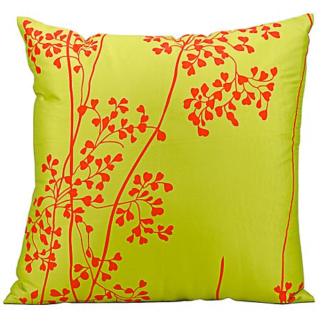 """Mina Victory Lime Green and Orange 20"""" Square Outdoor Pillow"""