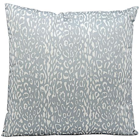 """Mina Victory Leopard 20"""" Square Gray Outdoor Pillow"""