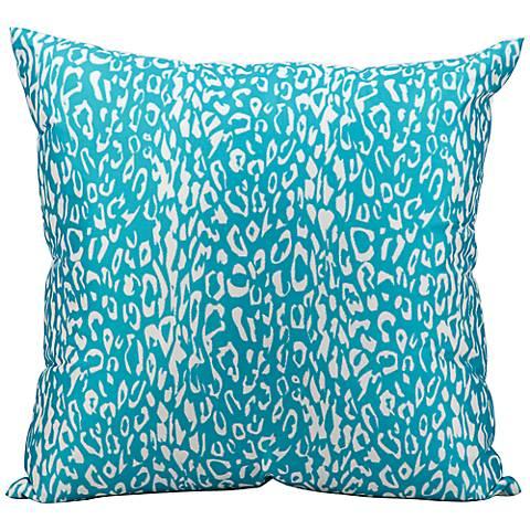 "Mina Victory Leopard 20"" Turquoise Indoor-Outdoor Pillow"