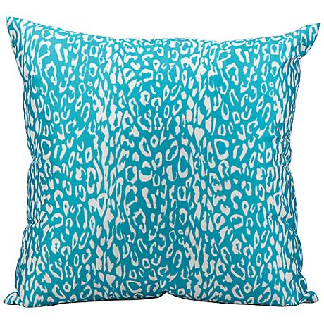 """Mina Victory Leopard 20"""" Square Turquoise Outdoor Pillow"""