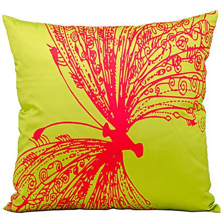 """Mina Victory Butterfly 18"""" Square Lime Green Outdoor Pillow"""