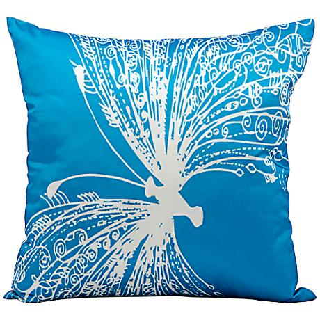 """Mina Victory Butterfly 18"""" Square Turquoise Outdoor Pillow"""