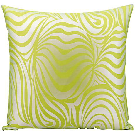 """Mina Victory Wave 18"""" Square Lime Green Outdoor Pillow"""