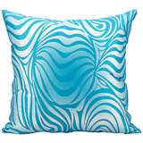 "Mina Victory Wave 18"" Turquoise Blue Indoor-Outdoor Pillow"