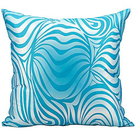 """Mina Victory Wave 18"""" Square Turquoise Blue Outdoor Pillow"""