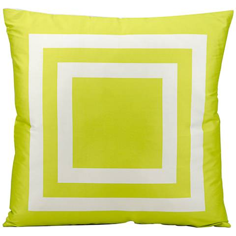 """Mina Victory Geometric 20"""" Square Green Outdoor Pillow"""