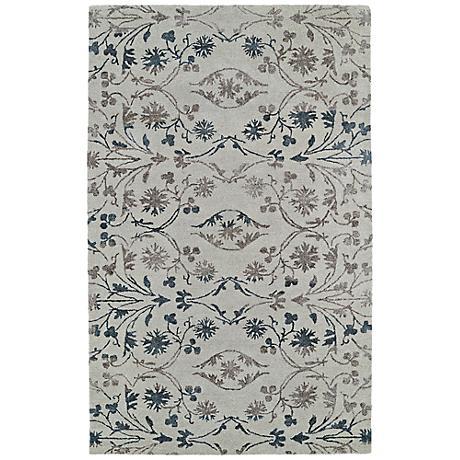 Kaleen Divine DIV05-42 Linen Gray Floral Wool Area Rug