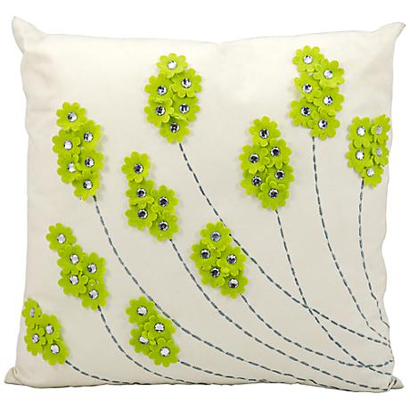 "Mina Victory Floral 20"" Square Apple Green Outdoor Pillow"
