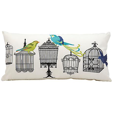 """Mina Victory Birdcage 24"""" x 12"""" Outdoor Lumbar Pillow"""