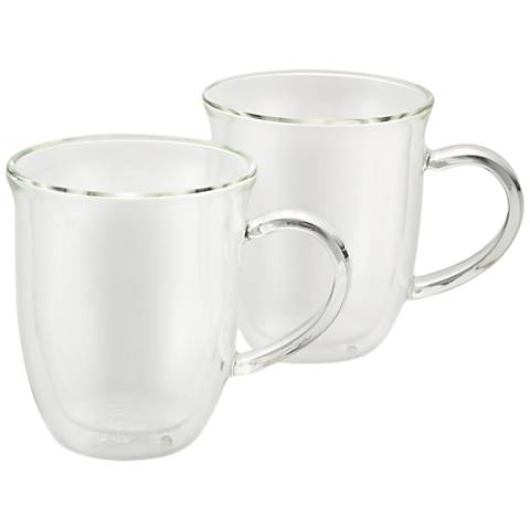 BonJour Coffee Insulated Glass Cappuccino Cups Set of 2