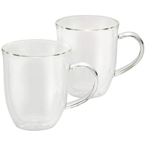 BonJour Coffee Insulated Glass Latte Cups Set of 2