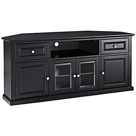 """Alexandria 4-Door Black 60"""" Corner TV Stand"""