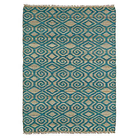 Kaleen Kenwood KEN02-91 Teal Blue Jute Reversible Area Rug