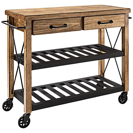Cornwall Natural Wood 2-Drawer Industrial Kitchen Cart