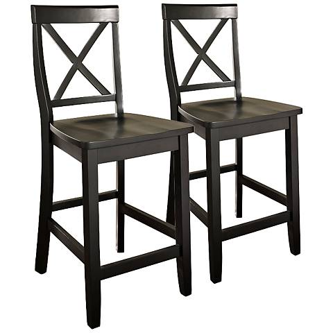 "Bristol 24"" Black Armless Counter Stool Set of 2"