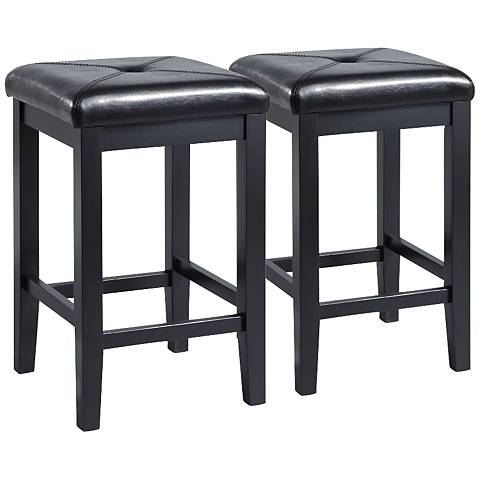 "Sutton Upholstered Black 24"" Counter Stools Set of 2"