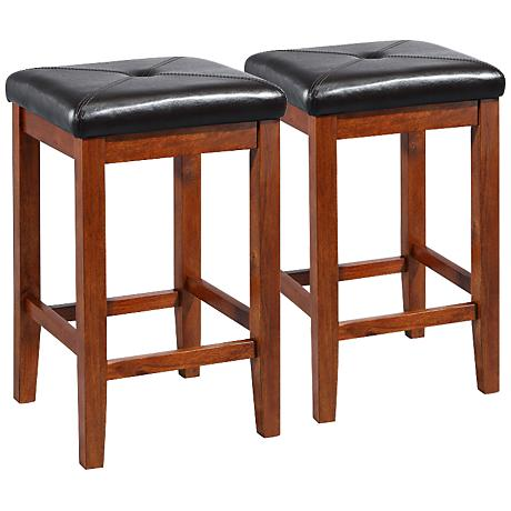 """Sutton Upholstered Cherry 24"""" Counter Stools Set of 2"""