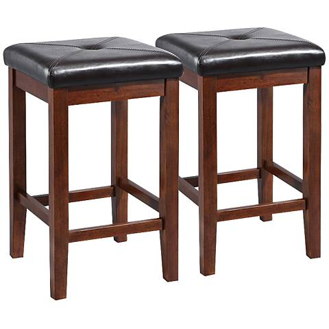 "Sutton Upholstered Mahogany 24"" Counter Stools Set of 2"