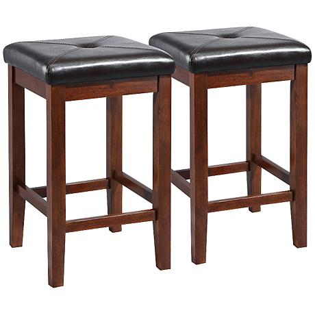 Sutton Upholstered Mahogany 24 Quot Counter Stools Set Of 2