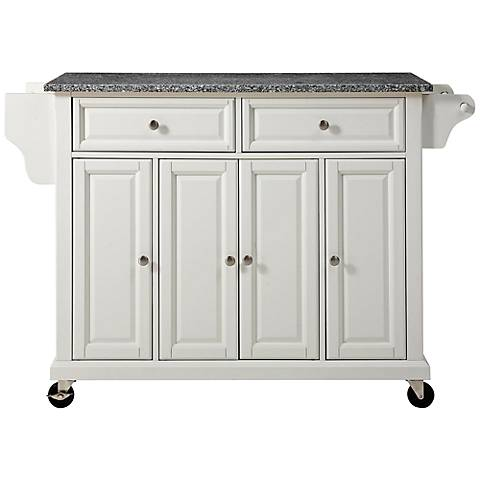 Dover Granite Top White 4-Door Kitchen Island Cart