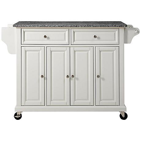 Dover Granite Top White 4 Door Kitchen Island Cart